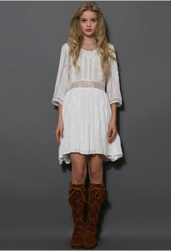 Boho Lace Love Mid-Sleeve Dress 50