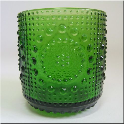 Riihimäen Lasi Oy / Riihimaki green glass textured 'Grapponia' tumbler/drinking glass, designed by Nanny Still, pattern number 5065.