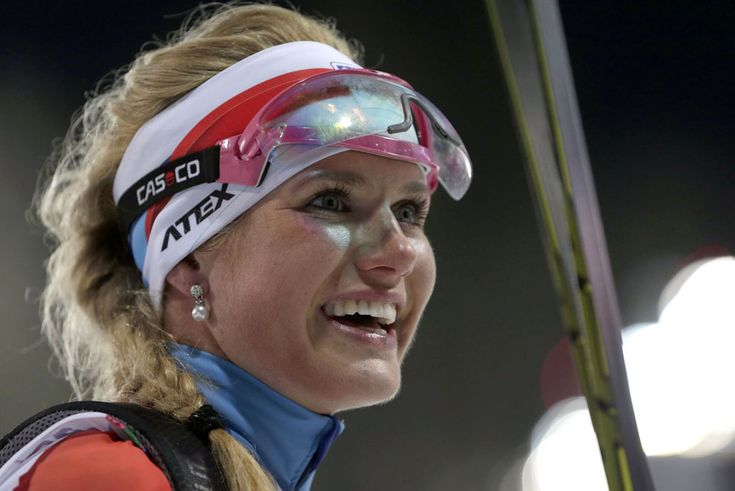 Silver medalist Czech Republic's Gabriela Soukalova smiles after completing the women's biathlon 12.5k mass-start, on February 17, 2014, in Krasnaya Polyana.