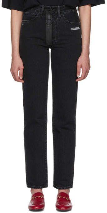 6ac1bfadd633 Designer jeans for Women. Off-White Black Straight-Leg Classic Vintage Jeans
