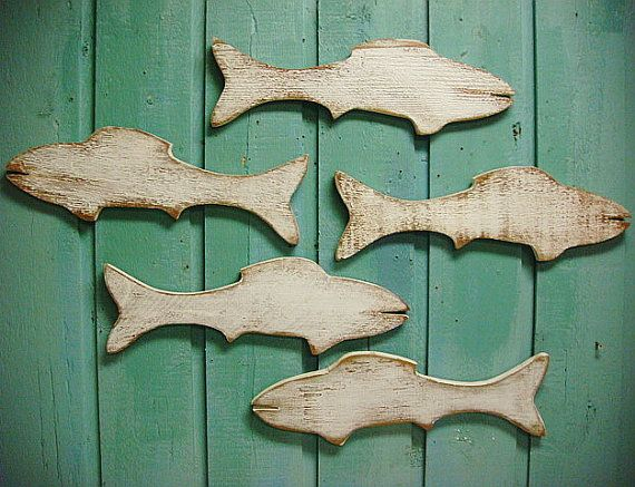 Fish School of Wood Fish Wooden Sign Wall Art by CastawaysHall
