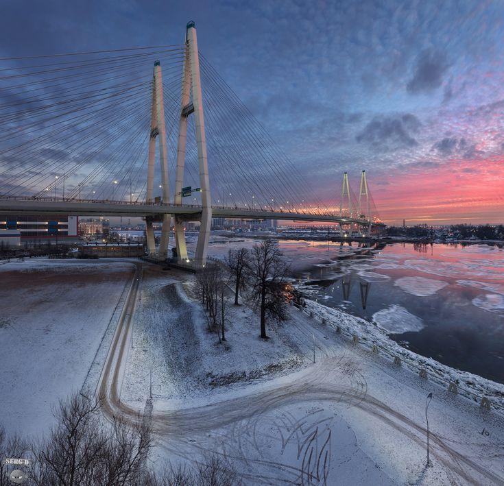 Большой Обуховский вантовый мост, Нева, КАД, зима, город