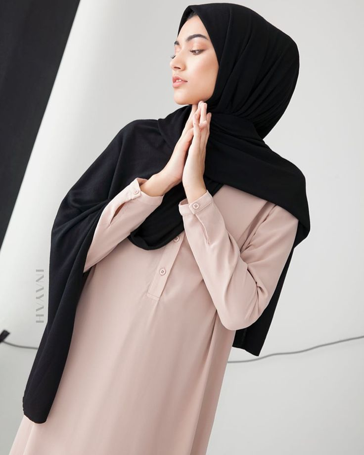 INAYAH |   Mushroom Classic #Shirt #Abaya with #Flare + Black #Rayon Blend #Jersey #Hijab - to be restocked soon. Medium Nude Soft Cotton #Scrunchy www.inayah.co