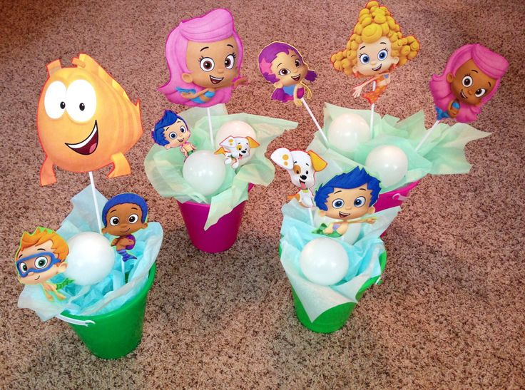 Bubble Guppies Party Decoration DIY: Paper Cutouts Attached To Foam  Backing.The Pails Tissue