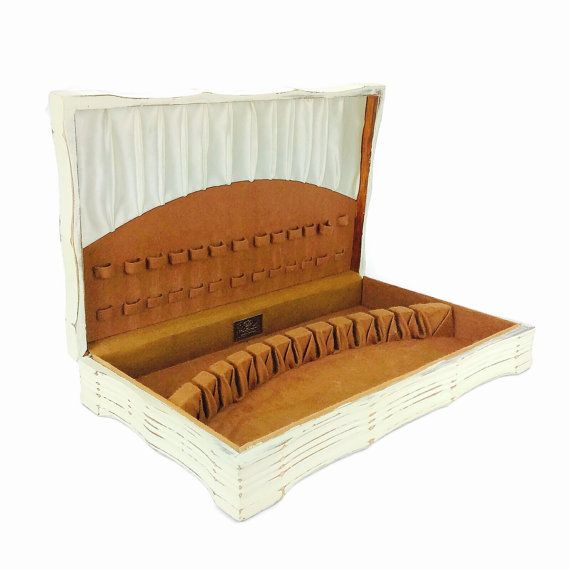 VINTAGE FLATWARE CASE Wooden Silverware Box by ShabbyShores