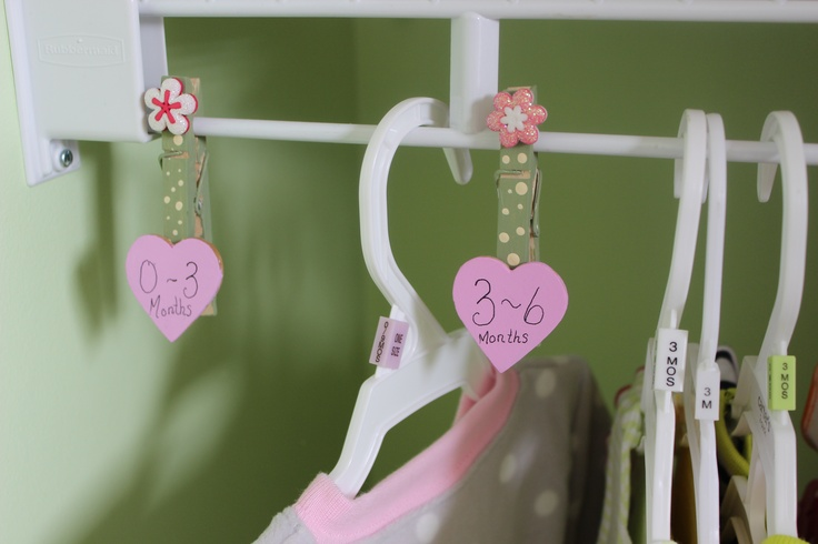To organize baby clothes by months/sizes.  Clothes pins, 3d flower stickers, wooden hearts.