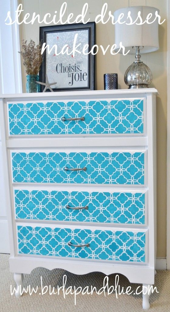 How to stencil a dresser for a total transformation-with our Eastern Lattice wall stencil on Burlap and Blue blog.