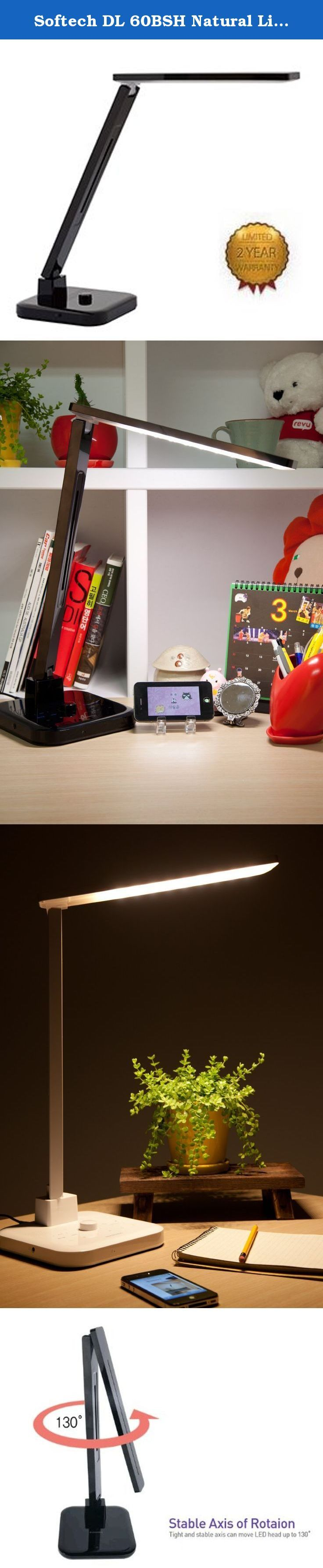 Softech DL 60BSH Natural Light Smart LED Desk Lamp with Bluetooth Speaker and FM Radio, 18.3 by 8 by 3.5-Inch, Black. This LED desk lamps feature environmentally friendly lighting that eases eye strain while being brighter and lasting longer than traditional lamps.