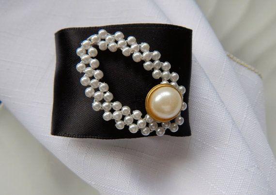 BLACK TIE EVENT Formal Black Satin w/ Pearls Wedding Napkin