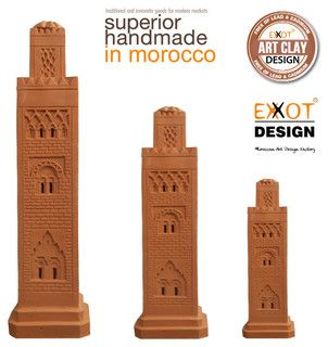 Clay pots of Marrakesh Morocco Mosque Tower - mediterranean - holiday decorations - other metro - by EXXOT DESIGN SARL AU