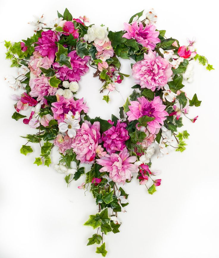 """This large heart wreath is perfect for a front door, over a mantel, and has been used in weddings or valentine's day. At 28"""" wide it makes a bold statement. Perfect Valentine's day gift or wedding gif"""