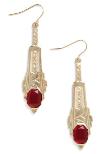 High Rise and Shine Earrings - Red, Gold, Film Noir, Party, Statement, Top Rated
