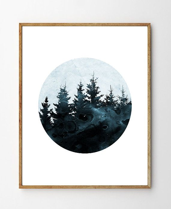 Winter Forest - Forest Art, Forest Print, Forest Nursery, Enchanted Forest, Home Decor, Nature Art, Collage Art, Blue Wall Art