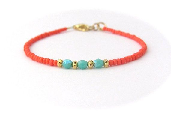 Coral Bracelet, Friendship Bracelet, Seed Bead Bracelet, Turquoise Bracelet, Beaded Bracelet, Coral Bridesmaid Jewelry, Hawaiian Jewelry