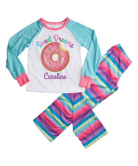 Aqua & Pink Sweet Dreams Donut Personalized Loungewear Set