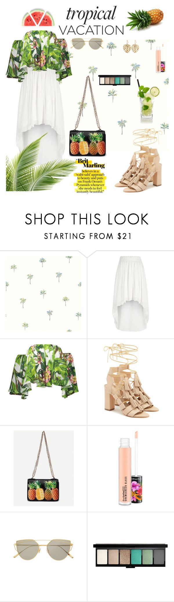 """Welcome To Paradise : Tropical Vacation"" by stylechristine ❤ liked on Polyvore featuring River Island, Loeffler Randall, WithChic, MAC Cosmetics, Gentle Monster and The Sak"