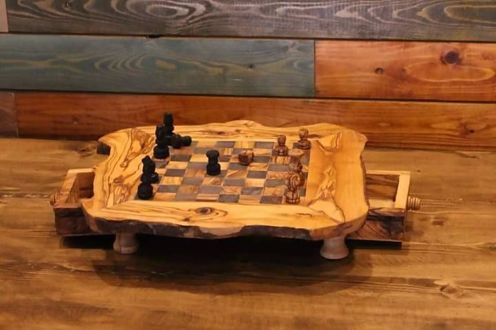 Olive Wood Chess Board Wooden Set