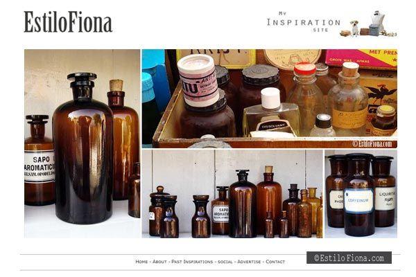 Pharmacy or apothecary bottles + vintage style. //  Frascos antiguos de farmacia y botellas vintage  #homedecor #decoración #vintage #estilofiona