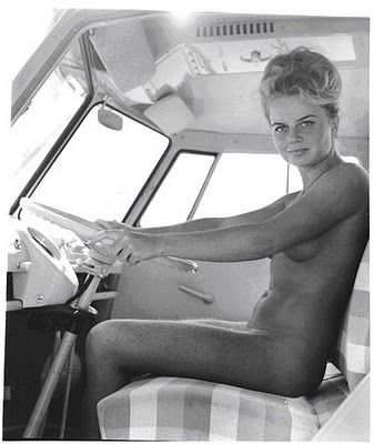 Sexy nude girl in a motorhome