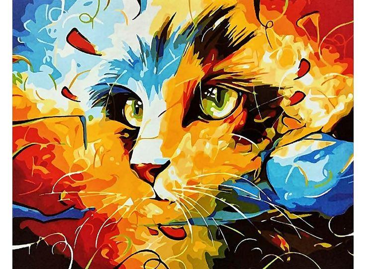 Картина по номерам, картина-раскраска по номерам, раскраска по номерам, paint by numbers, купить картину по номерам - картина «Кошка» Наушада Вахида - Zvetnoe.ru - картины по номерам, алмазная мозаика