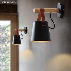 Applique murale LED en bois avec abat-jour suspendu déco DIY