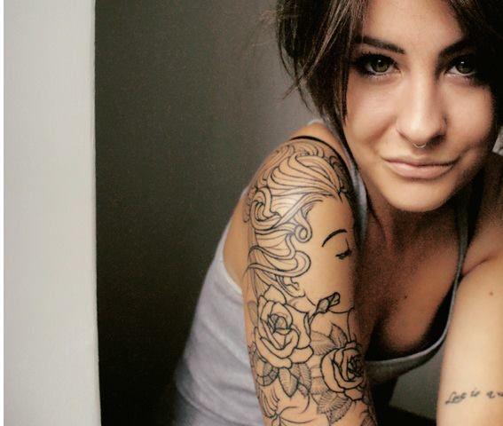 Arm Tattoo, Bow Tattoo, Girl, Hair
