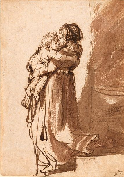 """Rembrandt's """"Woman With a Child Descending a Staircase"""" (circa 1636). Credit The Morgan Library & Museum"""