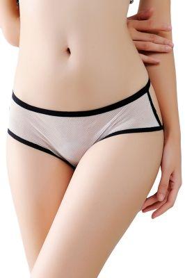 White Mesh Cutout Strappy Chain Back Panty