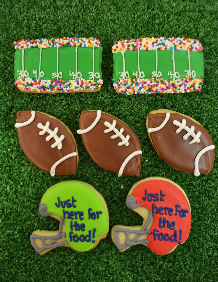 "Fun Super Bowl Sugar Cookies; Stadium, Football and Helmet ""Just Here For The Food"" Cookies. By Bake Sale Toronto."
