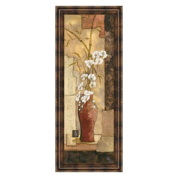 Classy Art Asian Flower II Framed Wall Art - 18W x 42H in. - 1077