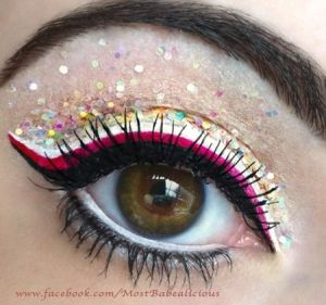 Dramatic pink and black liner with multicoloured glitter eye make up #eyes #makeup #eyeshadow by Angela J by Janivi PROMOTIONS Real Techniques brushes makeup -$10 http://youtu.be/6T4khkxlZgo #realtechniques #realtechniquesbrushes #makeup #makeupbrushes #makeupartist #makeupeye #eyemakeup #makeupeyes