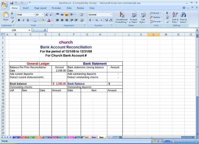 Sample bank reconciliation statement format microsoft for Trust account reconciliation template