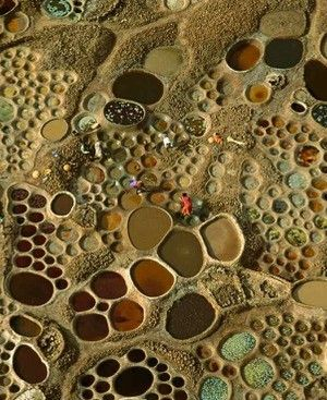 Arial view of salt works in le Niger.