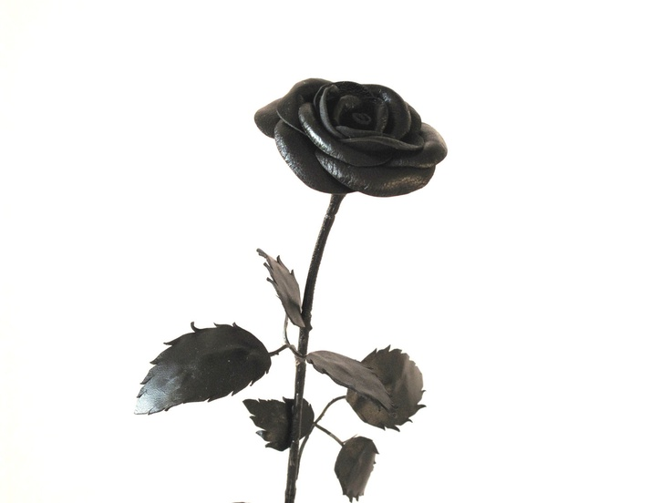 Sexy  Black Long Stem Leather  Flower Rose Gift