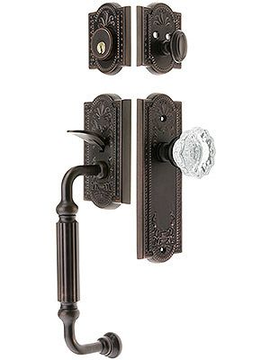 "Antique Door Handle. Grandeur ""Parthenon"" Thumblatch Entry Door Set With Parthenon Interior Plate"