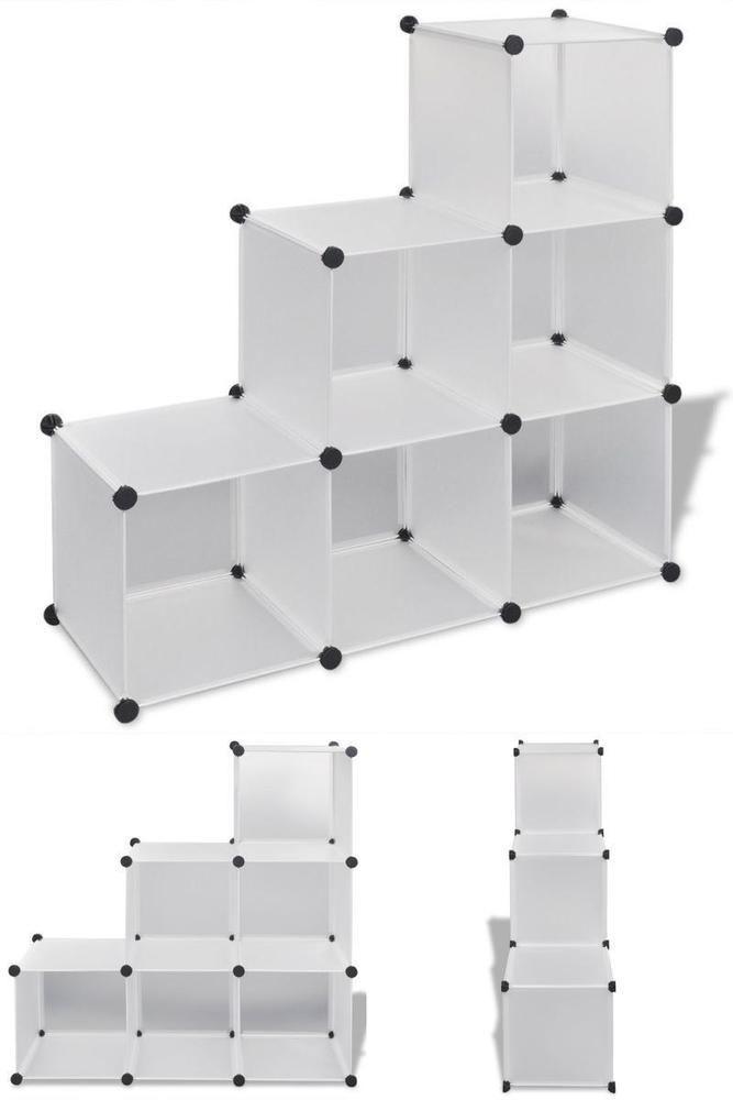 White Cube Shoe Storage Unit 6 Boxes Bedroom Organiser Display Rack Stand Shelf Shelves Shoe Storage Unit Box Bedroom