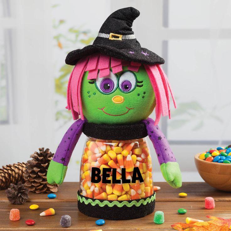 personalized halloween witch treat jar personalized planet - Personalized Halloween Decorations