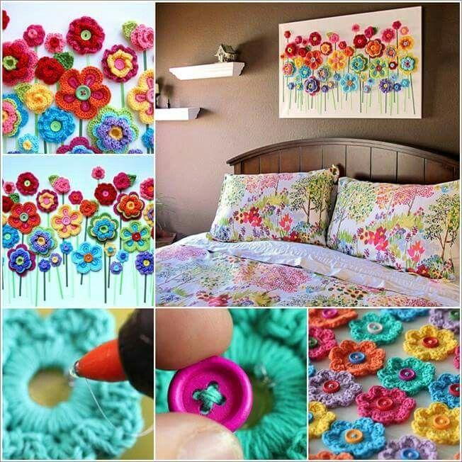 Cuadro decorativo de flores al crochet