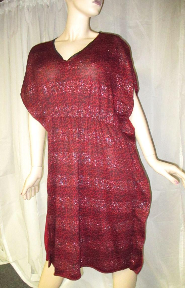 Now selling: Size Large (12-14) Red Cheetah Dress - Dolman - Short Sleeves- Elastic Waist