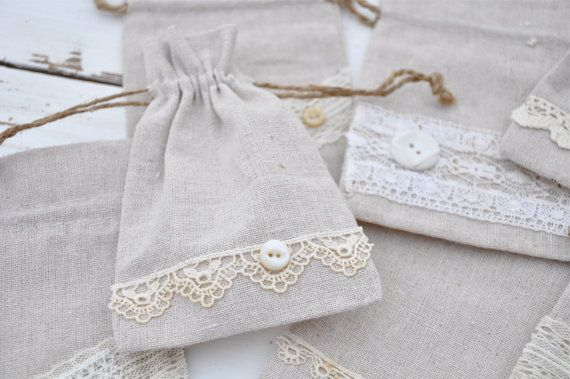 """Natural Linen Shabby Chic Vintage Lace 4 x 6"""" Drawstring bags Wedding Favors Jewelry Pouches on Etsy, $5.00"""