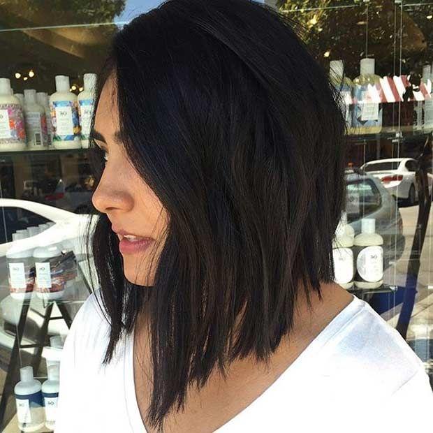 See Emma Stone's Angled Lob Haircut | InStyle.com