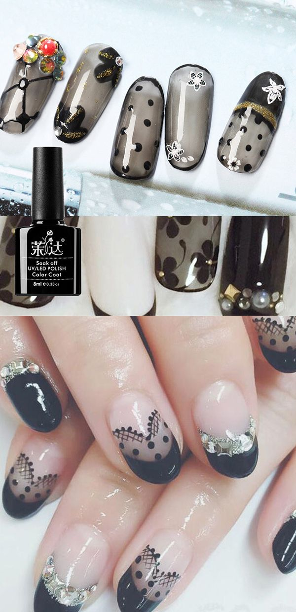 US$ 5.99 7.3mL Sexy Black Lace UV Gel Nails Polish Manicure Nail Art Varnish