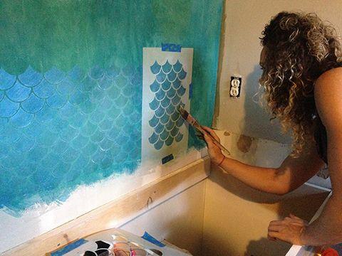 faux tile and metallic style, bathroom ideas, paint colors, wall decor, Photo Credit KaraPaslayDesigns com