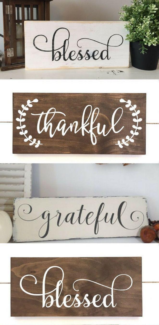 Thankful Word Arrow Wood Wall Sign Home Decor