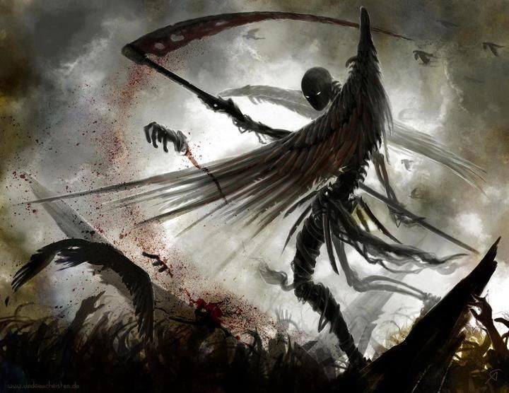Death on the battlefield # grim reaper......no one knew what he kept beneath the cloak