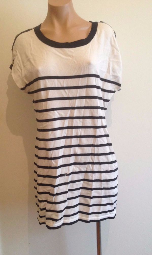 Valley Girl Nautical Striped Womens Top Black White 100% Cotton Size Large