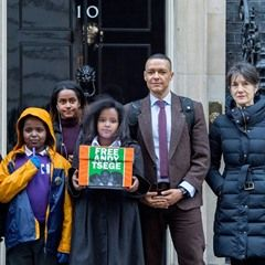 Family of the detained Andy Tsege deliver a petition to Downing Street