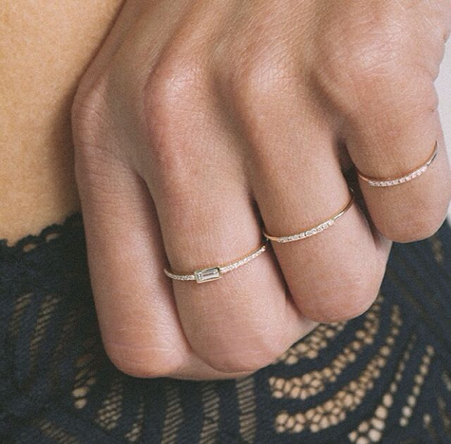 14kt gold and diamond baguette ring – Luna Skye by Samantha Conn
