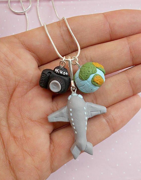Charm travel necklace Handmade polymer clay plane Nikon and