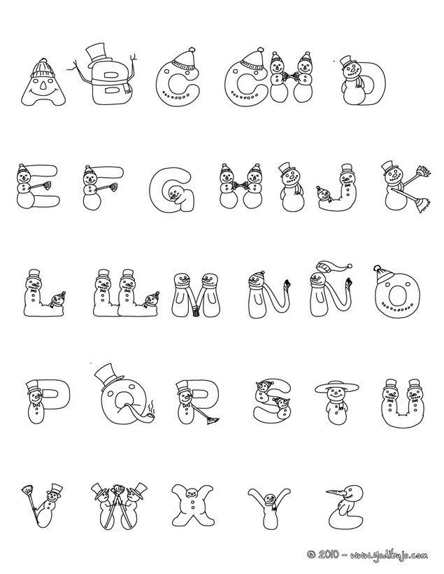Dibujo para colorear : abecedario muñeco de nieve para navidad